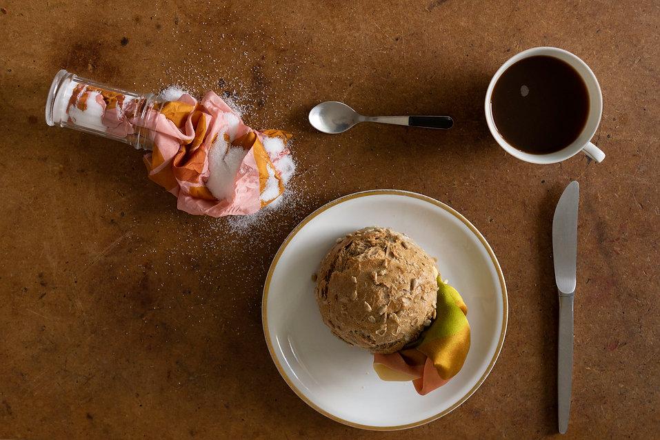 shooting Mia Kugelmann´s textile design Brot und Salz, breakfast scene