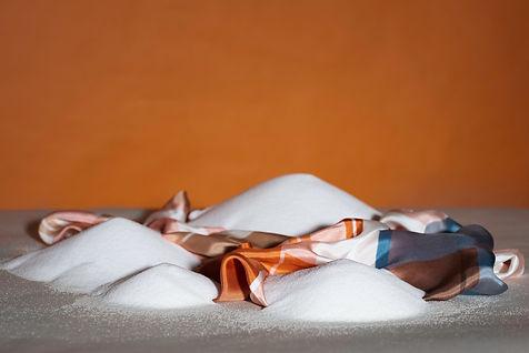 """shooting Mia Kugelmann´s textile design Brot und Salz, textiles """"Brot und Salz"""" in mountains of flour and salt"""