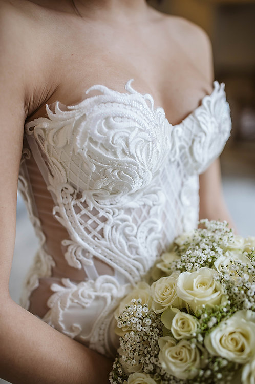 Mermaid lace corset wedding gown + Alterations