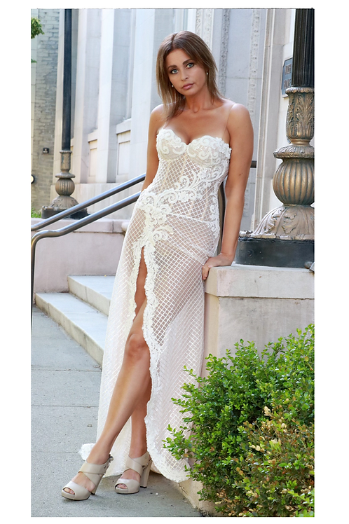 Sexy A-line wedding dress, open leg, sweetheart cups, corset gown