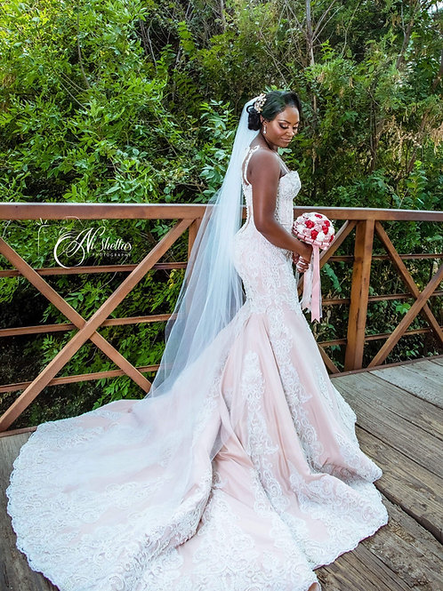 Sexy mermaid wedding dress, sweetheart cups, corset gown