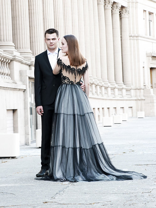 "Black & Gray wedding dress ""Zara"""