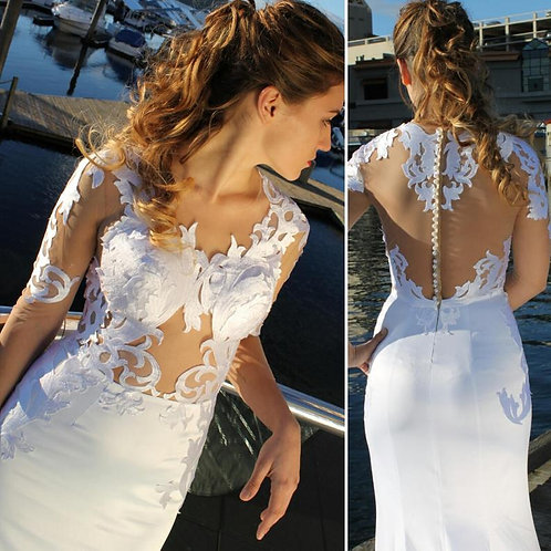 White sexy beach illusion top wedding dress