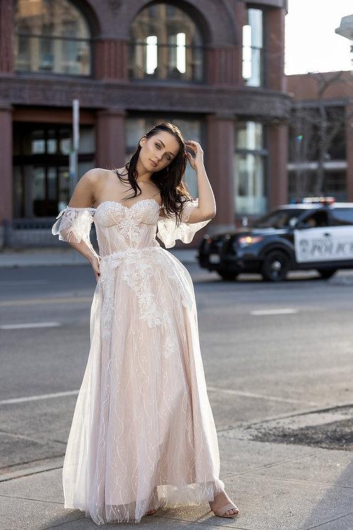 Blush Romantic boho wedding dress