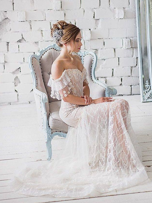 Bohemian Romantic vintage Beach wedding dress