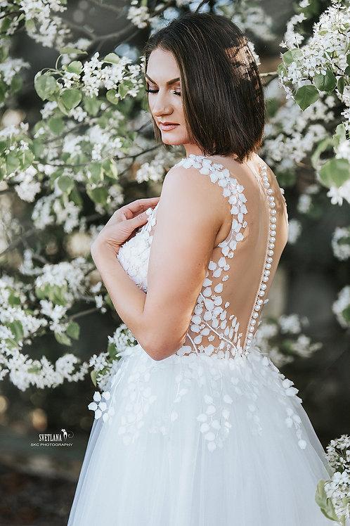Off White flower petals wedding dress