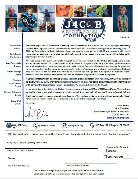 JRPF Sponsor Letter Funny4Funds Comedy N