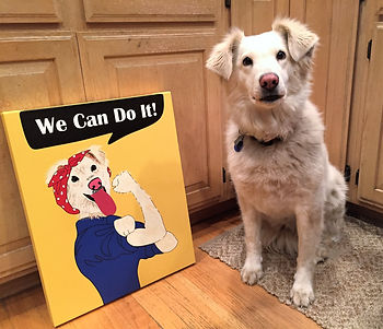 Rossie the Riveter dog painting