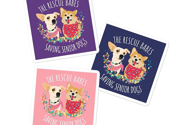The Rescue Babes Saving Senior Dogs Stickers 3x3 | Assorted (3pcs)