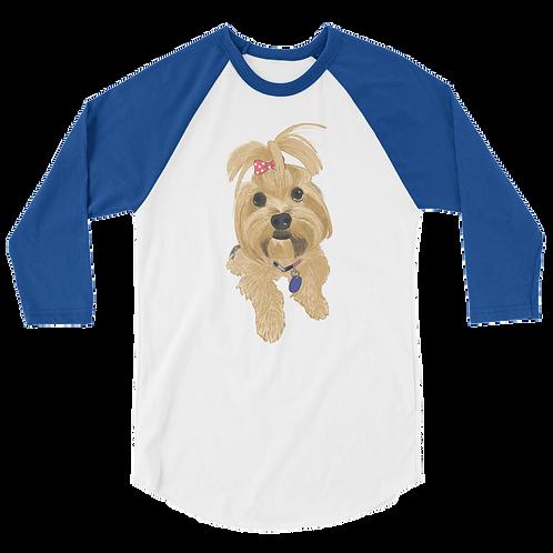 Custom Pet Portrait| Unisex 3/4 Sleeve Baseball Tee