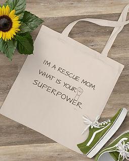 SketchPup! I'm a rescue mom cotton bag