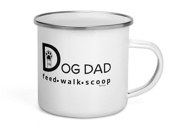 Dog Dad| Feed, Walk, Scoop| Enamel Mug (12oz)