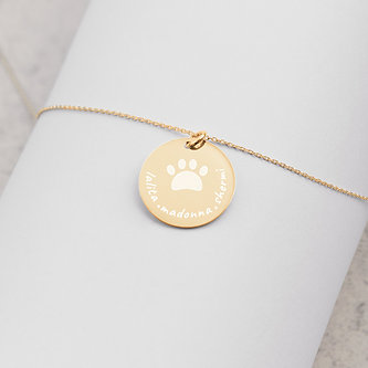 Personalized   Engraved Gold Disc   Chain Necklace