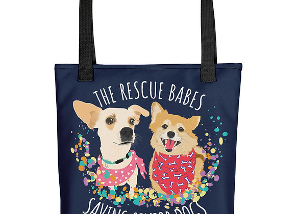 The Rescue Babes Saving Senior Dogs   All-Over Print Tote Bag
