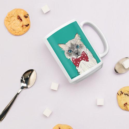 Custom Pet Portrait| White Glossy Mug 15 oz