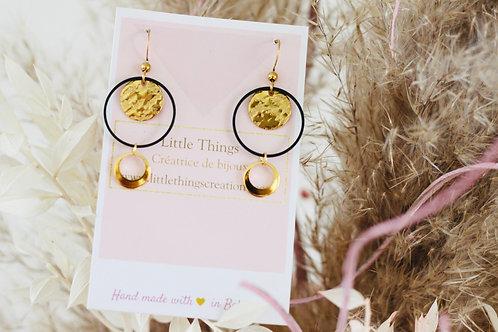 Boucles d'oreilles ADONIS Noir/doré