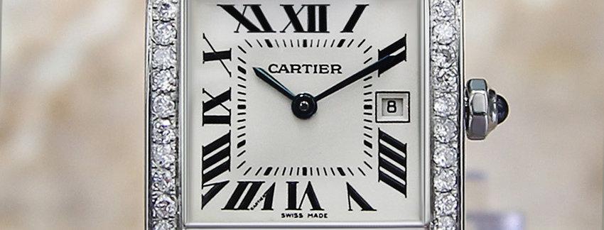 Unisex Diamond Cartier Tank Francaise 2465 Luxury Watch