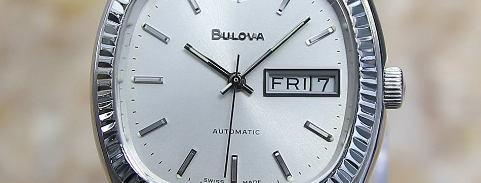 Bulova N9 Swiss Made Day Date Auto Mens 36mm 1975 Watch