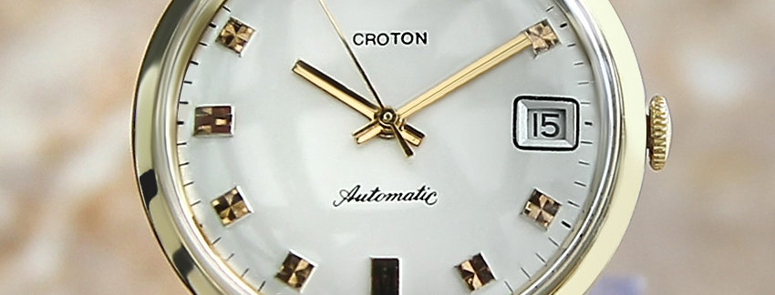 Solid 1960s 14k Gold Croton German Made  Men's Watch