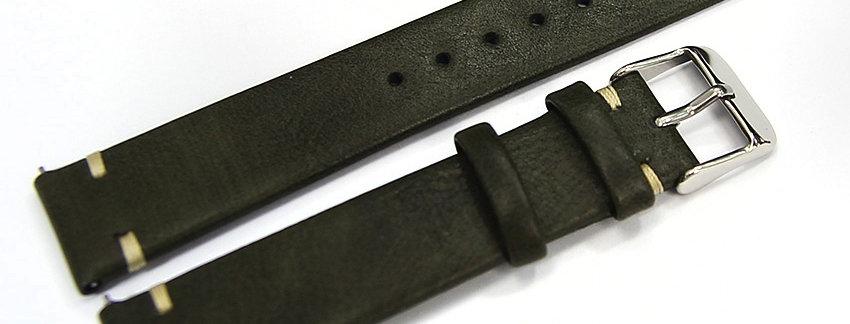 New Khaki Green Genuine Leather 18mm Watch Band