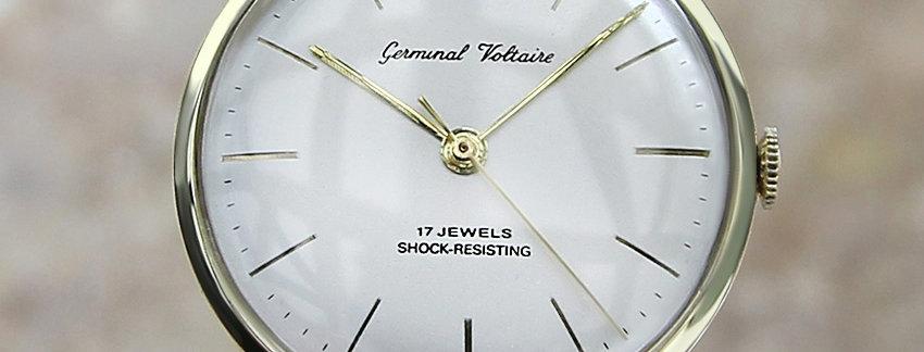 Germinal Voltaire Swiss Made 1960s 14k Men's Watch