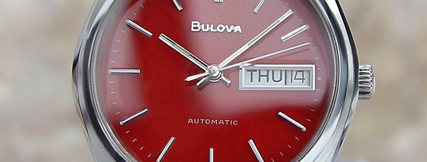 Red 1970's Bulova N9 Swiss Made Men's Watch