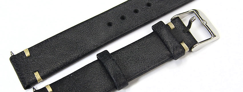 New Genuine Leather Black 18mm Watch Band