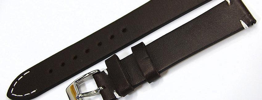 New Dark Brown Genuine Leather 18mm Watch Band