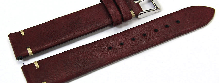 ​​​​​​​New Burgundy Genuine Leather 18mm Watch Band