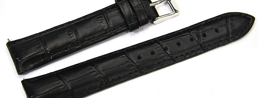 New Black Genuine Leather 18mm Watch Band