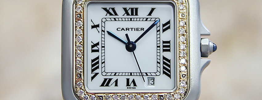 Solid 18k Gold Cartier Panthere Diamond  Men's Watch