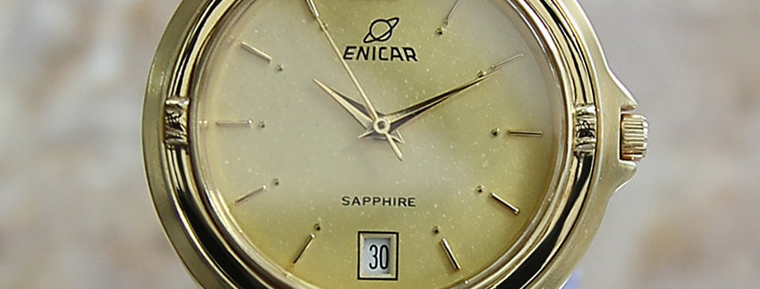 Enicar  Swiss Made 1990s Quartz Gold Plated   Men's Watch