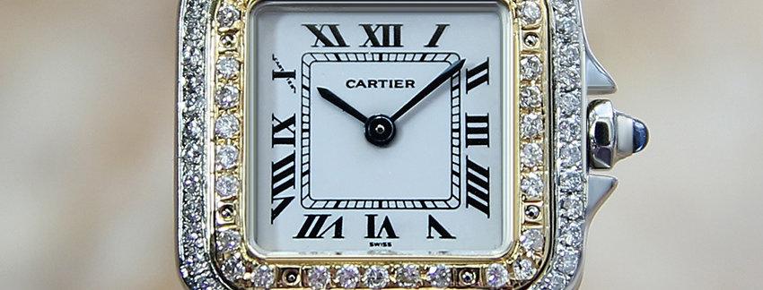 18k Gold Cartier Panthere Diamond Ladies Watch