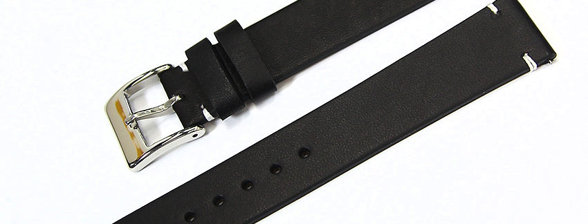 New Genuine Leather 18mm Watch Band - Black