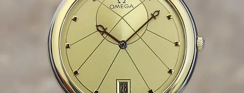 Omega Swiss Mens 18k Gold and SS 32mm Watch