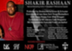 Bio card for Shakir Rashaan, listing all social media contact information and accomplishments.