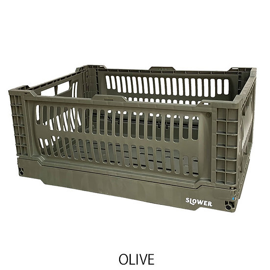 FOLDING CONTAINER BASK (L)/OLIVE