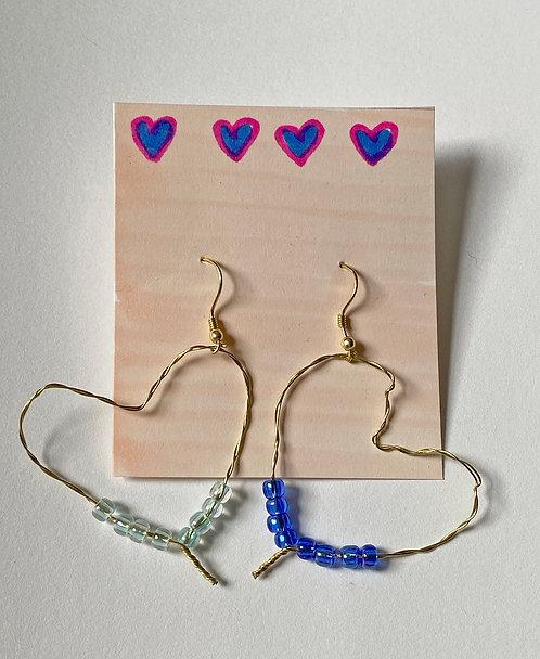 The Heart Earring in Blue