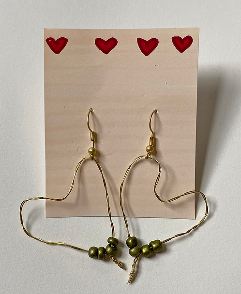 The Heart Earring in Green
