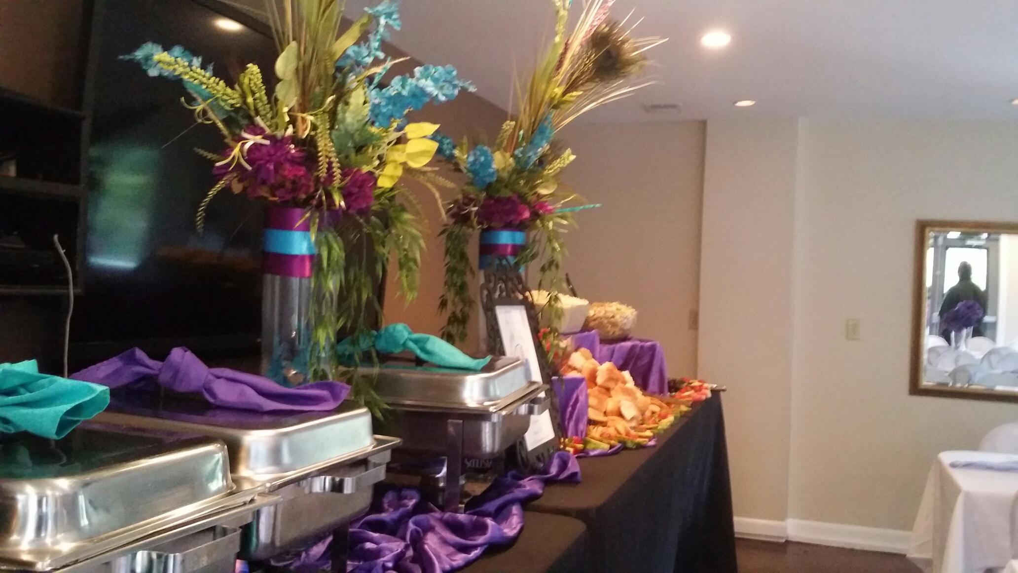 Peacock buffet setting