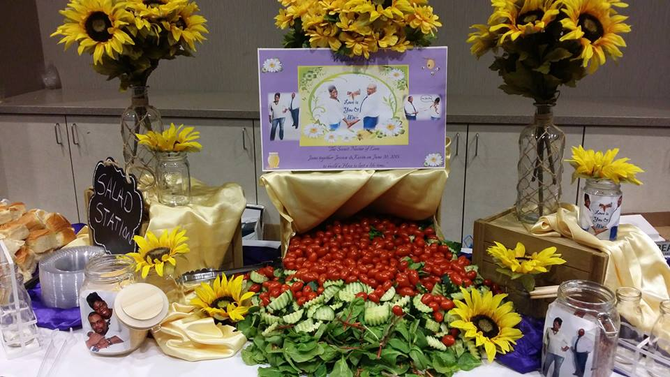 Buffet with graphics/sunflowers