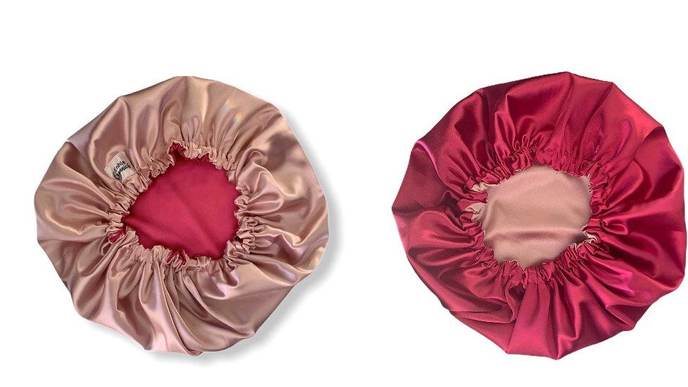 Reversible Satin Bonnet-Rose Gold and Pink
