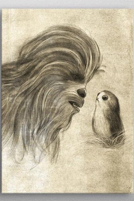 Star Wars Metal Poster Last Jedi Sketches Chewie & Porg