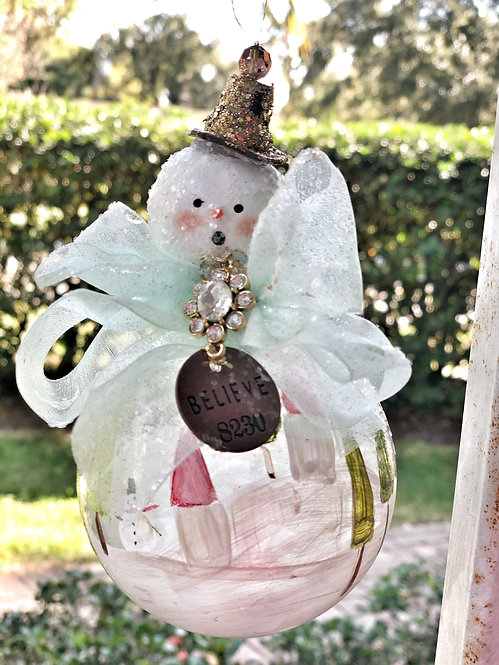 Believe snowman globe ornament