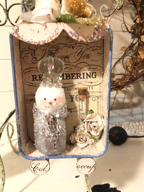 """Remembering"" Altered Tin Snowman Diorama"