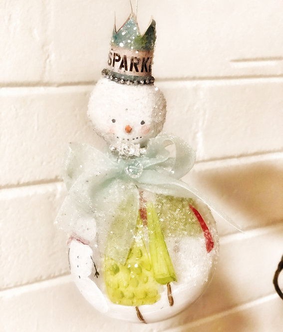 Sparkle snowman globe ornament