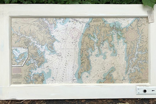 Nautical Chart/Vintage Door Panel with Key Plate