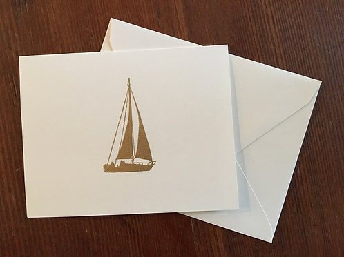 Raised Gold Sailboat Notecards set of 8