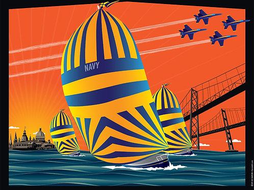 USNA Sunset Sails Art Print