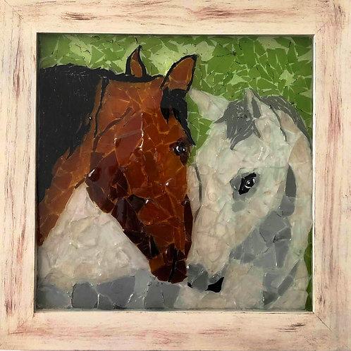 """Horse Lovers"" #72 Sea Glass Art ~ Mary Lou Powers"